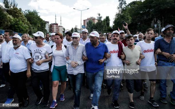 Supporters of Turkey's main opposition Republican People's Party gather during a rally in the Maltepe district of Istanbul on July 9 marking the end...