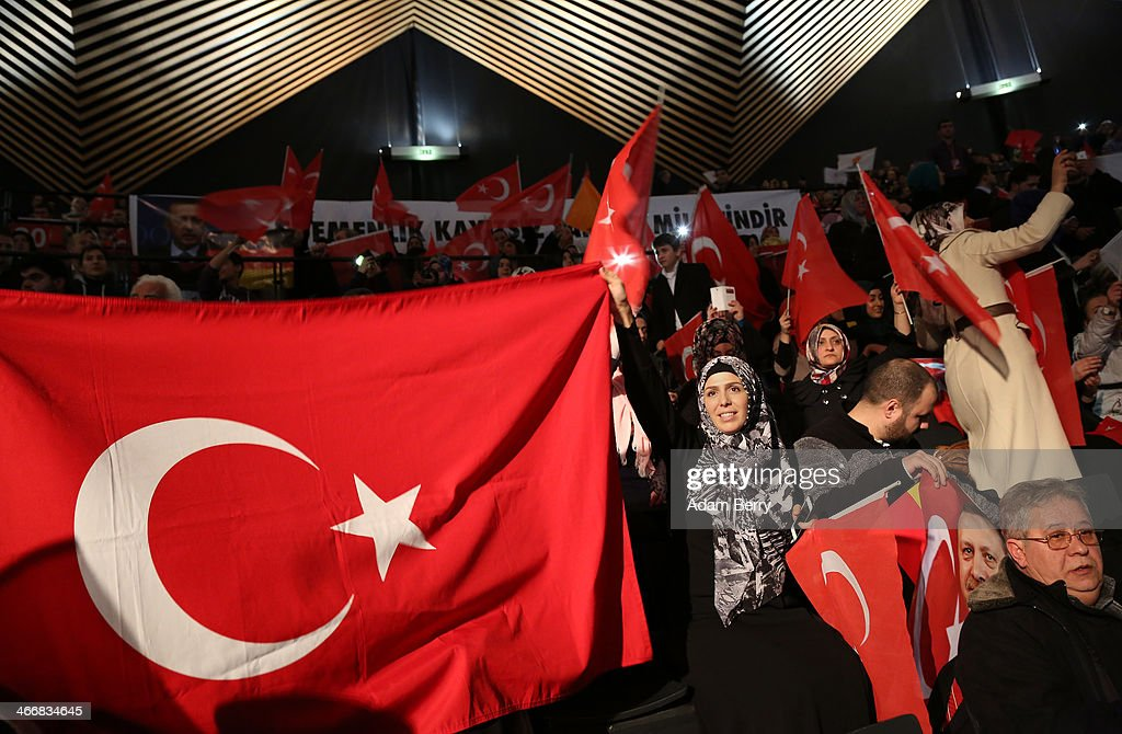 Supporters of Turkish Prime Minister Recep Tayyip Erdogan attend a rally at Tempodrom hall on February 4, 2014 in Berlin, Germany. Turkey will soon face parliamentary elections and Erdogan is vying for the votes of expatriate Turks. Berlin has the highest Turkish population of any city outside of Turkey.