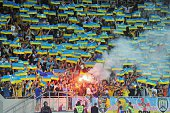 Supporters of Ukraine's national team react during the UEFA 2016 European Championship qualifying round Group C match Ukraine vs Macedonia in Lviv on...