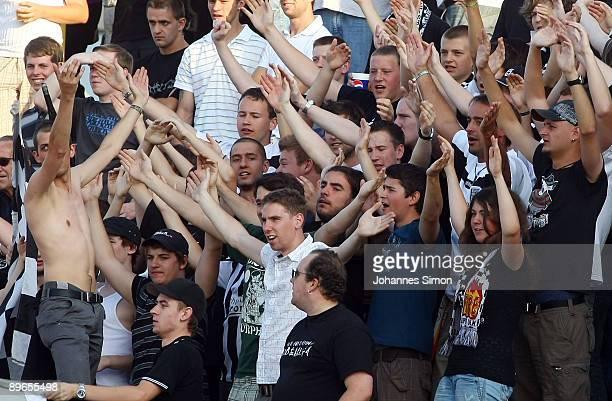 Supporters of Ulm celebrate during the Regionalliga match SSV Ulm 1846 v Bayern Alzenau at Donaustadion on August 7 2009 in Ulm Germany