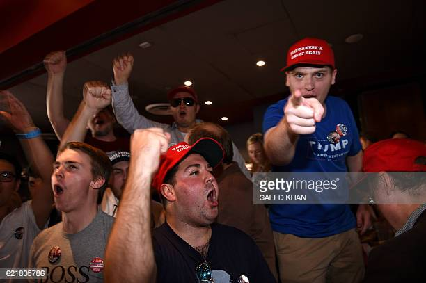 Supporters of US presidential canditate Donald Trump celebrates his seats at the United States Studies Center at the University of Sydney on November...