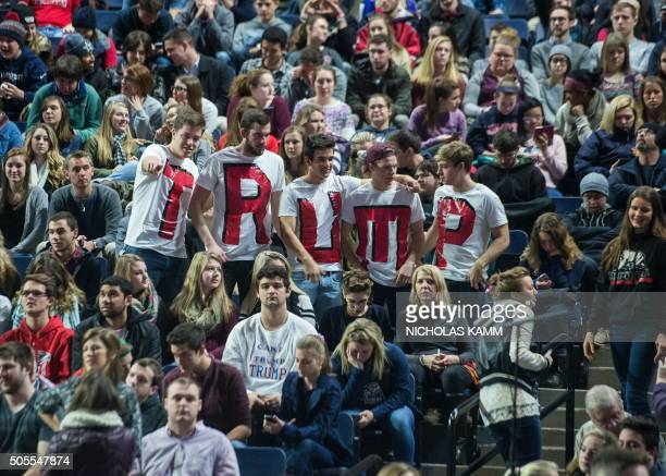 TOPSHOT Supporters of US Republican presidential candidate Donald Trump attend a rally at Liberty University in Lynchburg Virginia January 18 2016 /...