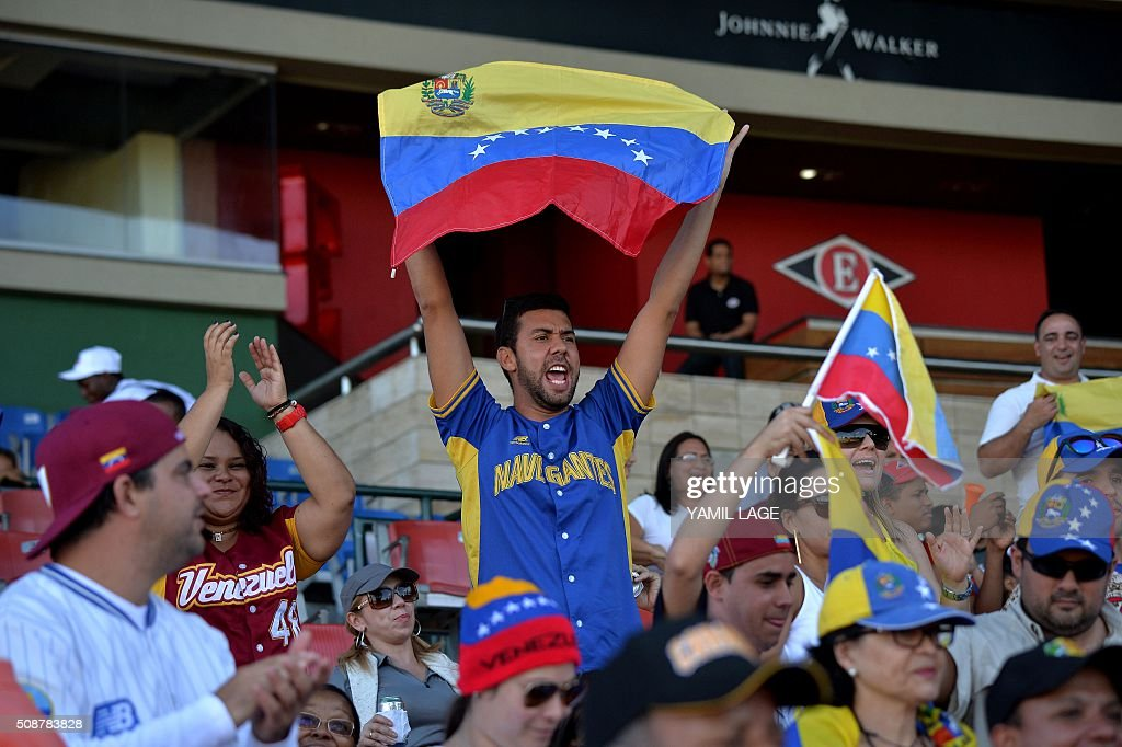 Supporters of Venezuela cheer for their team during their 2016 Caribbean baseball series game against Puerto Rico on February 6, 2016 in Santo Domingo, Dominican Republic. AFP PHOTO/YAMIL LAGE / AFP / YAMIL LAGE