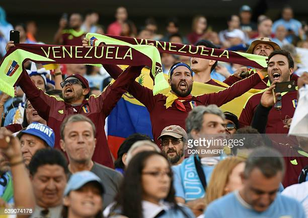Supporters of Venezuela wait for the start of the Copa America Centenario football tournament match between Uruguay and Venezuela in Philadelphia...