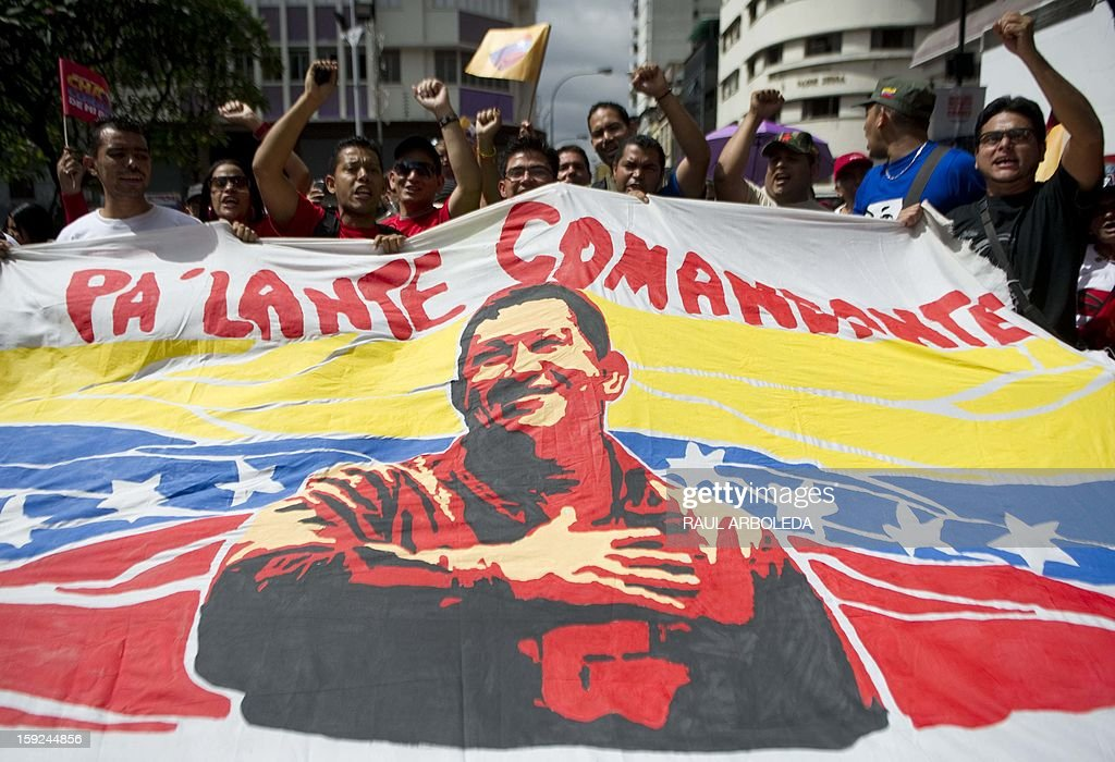 Supporters of Venezuelan President Hugo Chavez gather outside Miraflores presidential palace, during an event in homage of the president, in Caracas on January 10, 2013. With cancer-stricken President Hugo Chavez hospitalized in Cuba, thousands of flag-waving Venezuelans in red shirts filled the streets of Caracas Thursday to inaugurate his new term without him. Bands played anthems from street-side stages as people poured out of buses to make their way on foot toward the Miraflores presidential palace for a symbolic swearing-in of the people in place of Chavez, who is too sick to take the oath of office. AFP PHOTO/Raul ARBOLEDA
