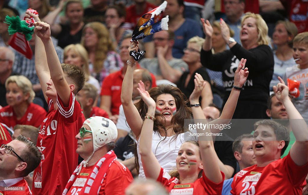 Supporters of Veszprem celebrate after the second semi-final of the EHF Final4 between THW Kiel and MVM Veszprem on May 28, 2016 in Cologne, Germany.