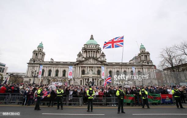 Supporters of veterans react to a Dissident Republican protest as Veterans of the Northern Ireland Troubles and of conflicts around the world held a...