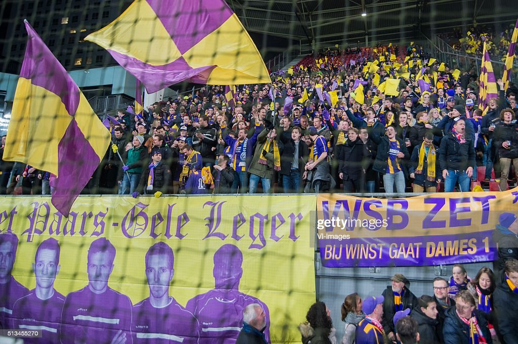 supporters of VVSB during the Dutch Cup semifinal match between FC Utrecht and VVSB on March 2 2016 at the Galgenwaard stadium in Utrecht The...