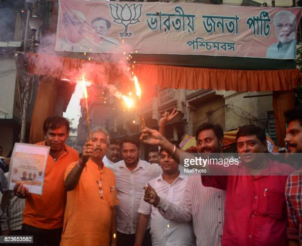 BJP supporters of West Bengal celebrates after Nitish Kumar took oath as Bihar Chief Minister with Bharatiya Janata Party as partner of his Janata...