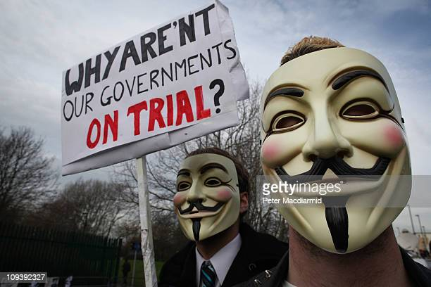 Supporters of Wikileaks founder Julian Assange stand outside Belmarsh Magistrates' Court on February 24 2011 in London England Mr Assange is...