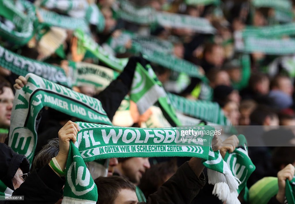 Supporters of Wolfsburg are pictured during the Bundesliga match between VFL Wolfsburg and FC Augsburg at Volkswagen Arena on February 2, 2013 in Wolfsburg, Germany.