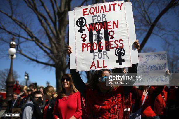 Supporters of women's rights gather for a news conference outside the US Capitol where women members of the House Democratic caucus marked...