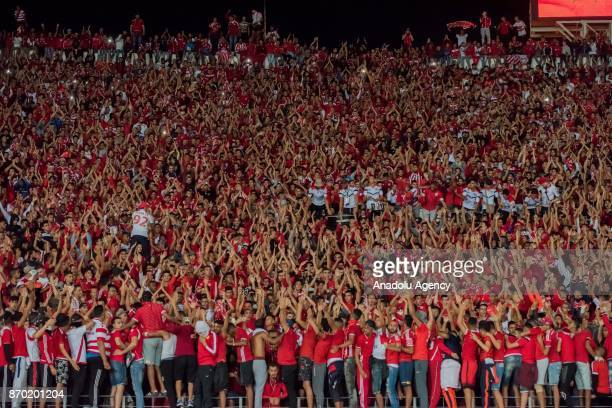 Supporters of Wydad Casablanca are seen during the CAF African Champions League match between Wydad Casablanca and Al Ahly at the Stade Mohammed V in...