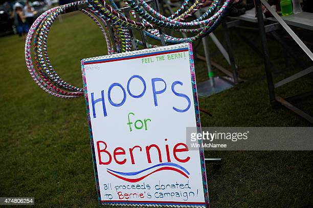 Supporters offer Hula Hoops for Bernie before US Sen Bernie Sanders officially announced his candidacy for the US presidency during an event at...