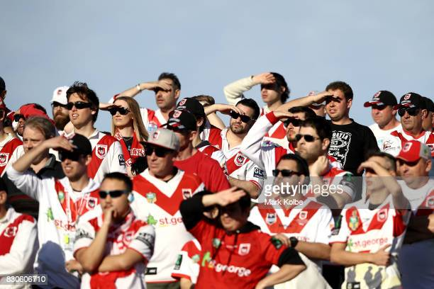 Supporters on the hill watch on during the round 23 NRL match between the St George Illawarra Dragons and the Gold Coast Titans at UOW Jubilee Oval...