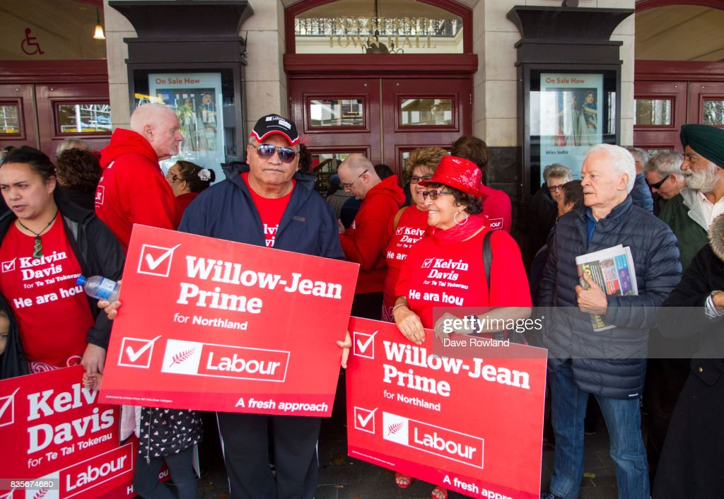 Supporters queue outside for the Labour Party Campaign Launch on August 20, 2017 in Auckland, New Zealand. The New Zealand general election will be held on September 23, 2017.