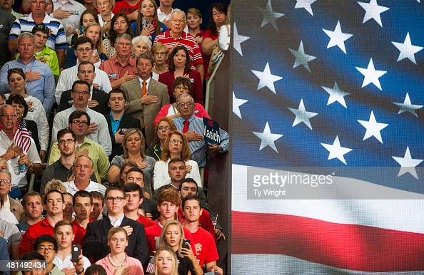 Supporters say the Pledge of Allegiance before Ohio Governor John Kasich gives his speech announcing his 2016 Presidential candidacy at the Ohio...