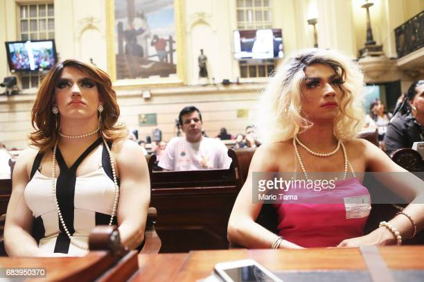LGBT supporters sit during a protest held inside city council on May 16 2017 in Rio de Janeiro Brazil Protestors occupied the chamber in a...