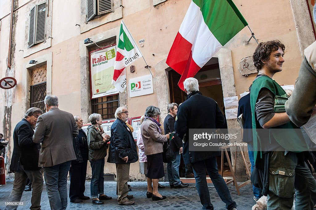 Supporters stand in line to vote during the primary elections to elect the leader of the center-left party on November 25, 2012 in Rome, Italy. Approximately 3 million Italian centre-left Democratic Party (PD) members are expected to turn out to vote today to decide the candidate to lead the party at the next national election for the new Italian government in March.