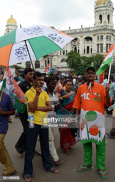 TMC supporters taking part in the Martyrs' Day rally addressed by West Bengal Chief Minister Mamata Banerjee at Esplanade on July 21 2015 in Kolkata...