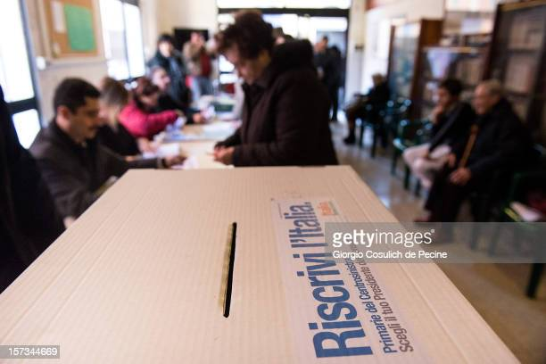 Supporters vote at the primary elections to elect the leader of the Democratic Party on December 2 2012 in Rome Italy Approximately 3 million PD...