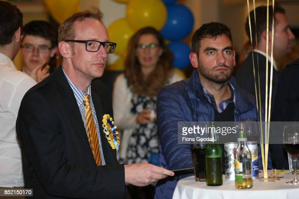 ACT supporters wait for leader David Seymour to arrive at the Royal New Zealand Yacht Squadron on September 23 2017 in Auckland New Zealand Voters...