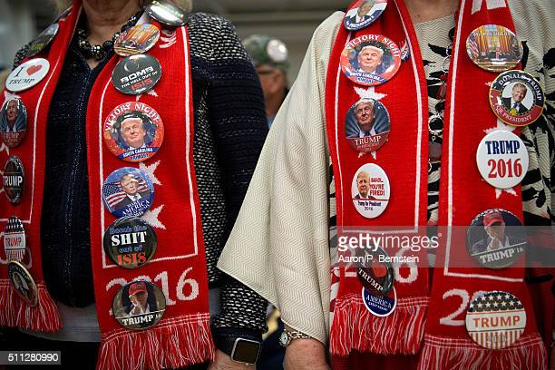 Supporters wait for Republican presidential candidate Donald Trump to speak at a rally February 19 2016 in Myrtle Beach South Carolina Trump is...