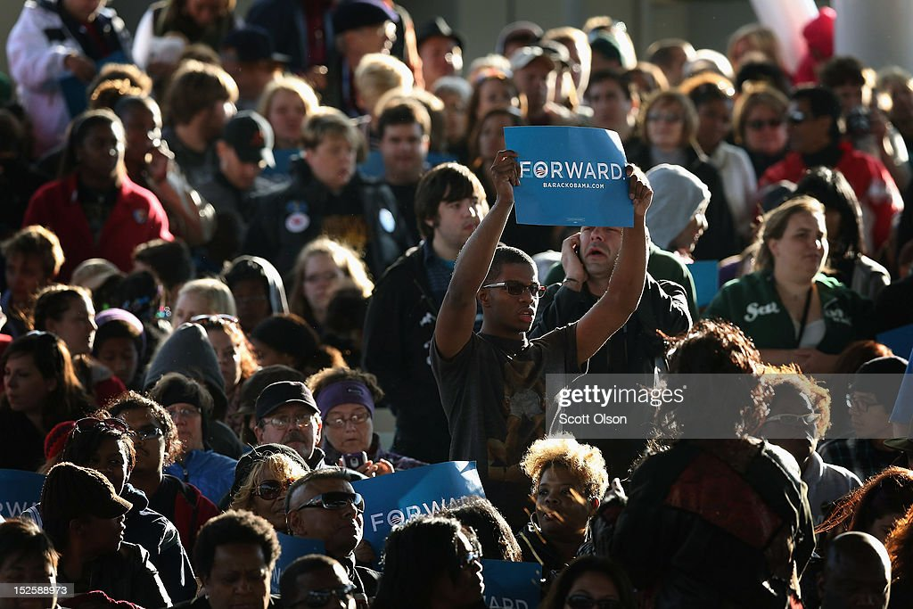 Supporters wait for U.S. President Barack Obama arrive at a campaign rally on September 22, 2012 in Milwaukee, Wisconsin. In addition to the rally, Obama attended two fundraising events during his visit to Milwaukee.