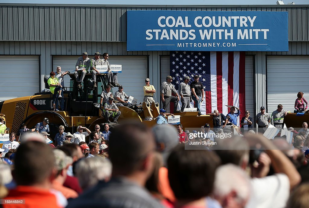 Supporters watch as Republican presidential candidate, former Massachusetts Gov. Mitt Romney speaks during a campaign rally on October 5, 2012 in Abingdon, Viriginia. Mitt Romney is campaigning in Virginia coal country and Florida.