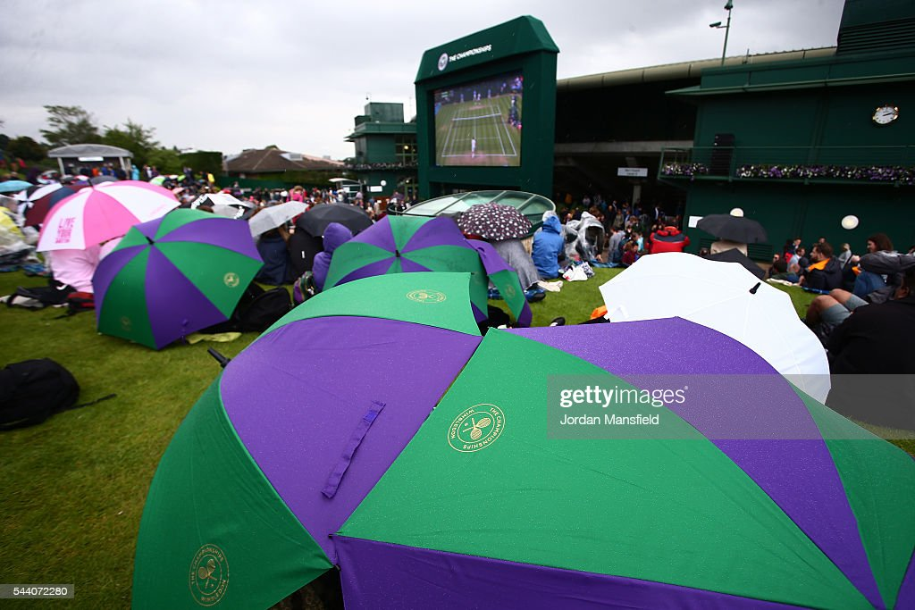 Supporters watch on from Murray mound on day five of the Wimbledon Lawn Tennis Championships at the All England Lawn Tennis and Croquet Club on July 1, 2016 in London, England.