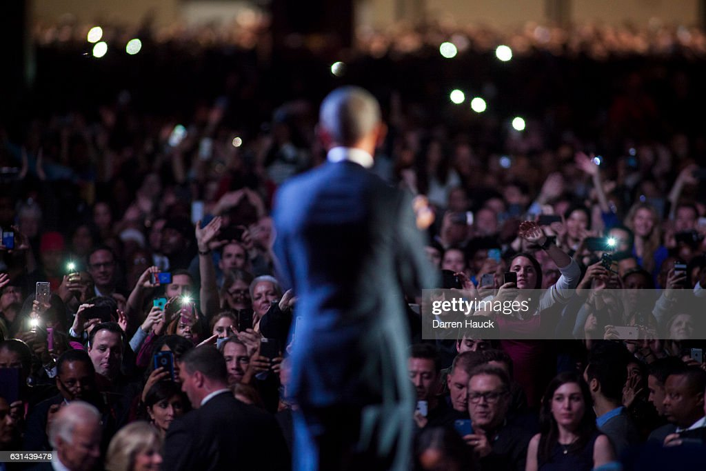 Supporters wave at U.S. President Barack Obama after his farewell speech at McCormick Place on January 10, 2017 in Chicago, Illinois. Obama addressed the nation in what is expected to be his last trip outside Washington as president. President-elect Donald Trump will be sworn in as the 45th president on January 20.