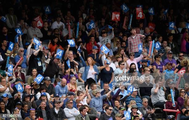 Supporters wave their 4 cards during the ICC Women's World Cup 2017 Final between England and India at Lord's Cricket Ground on July 23 2017 in...