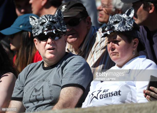 TORONTO ON JUNE 3 Supporters wear wolf head hats in the afternoon sun Canada's first professional rugby team the Toronto Wolfpack beat the Coventry...