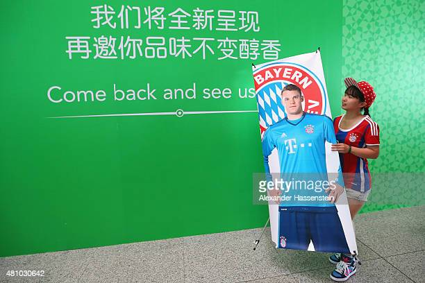 Supporters welcomes the team of FC Bayern Muenchen at Beijing Capital Airport for the FC Bayern Audi China Summer PreSeason Tour on July 17 2015 in...