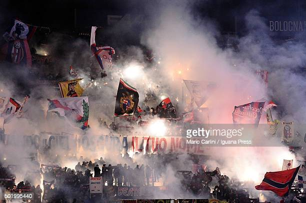 supportersof Bologna FC attend the Serie A match between Bologna FC and Empoli FC at Stadio Renato Dall'Ara on December 19 2015 in Bologna Italy