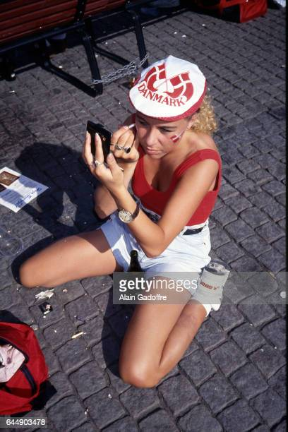 Supportrice Danemark Pays Bas / Danemark 1/2finale Euro 1992 Photo Alain Gadoffre / Icon Sport