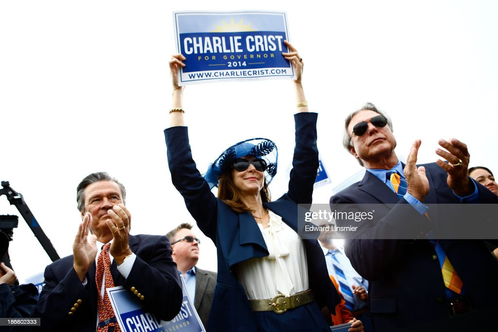 Supports of former Florida Gov. Charlie Crist gather as he announces that he will run for Governor as a Democrat on November 4, 2013 at Albert Whitted Park in St. Petersburg, Florida. Crist served as Florida's 44th governor as a Republican from 2007 to 2011.