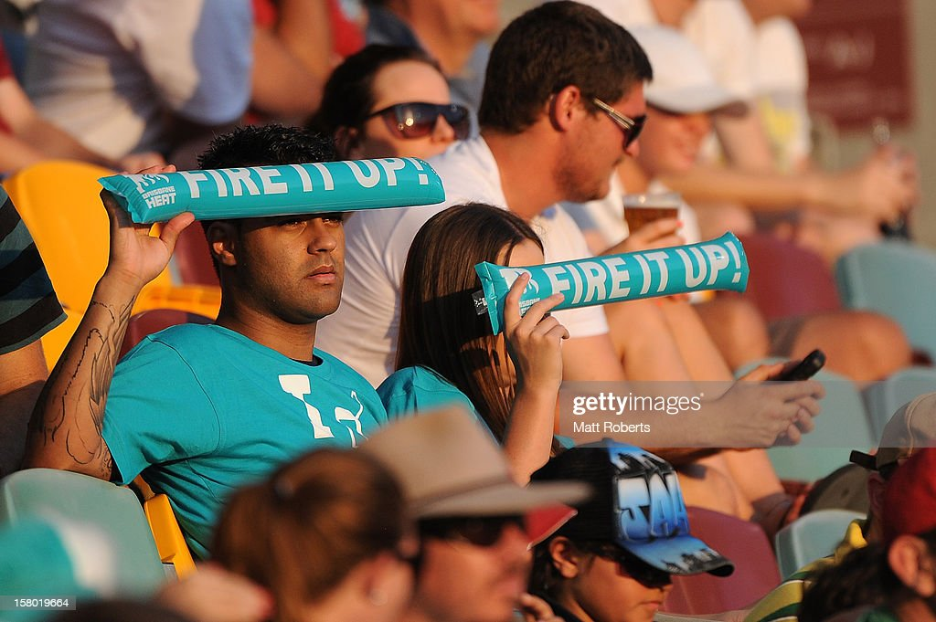 Supports of the Heat look on during the Big Bash League match between the Brisbane Heat and the Hobart Hurricanes at The Gabba on December 9, 2012 in Brisbane, Australia.