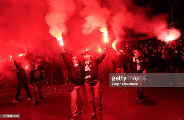 HERZEGOVINA NOVEMBER 13 Suppporters of Bosnia and Herzegovina national team light flares prior the EURO 2016 Qualifier PlayOff First Leg match at...