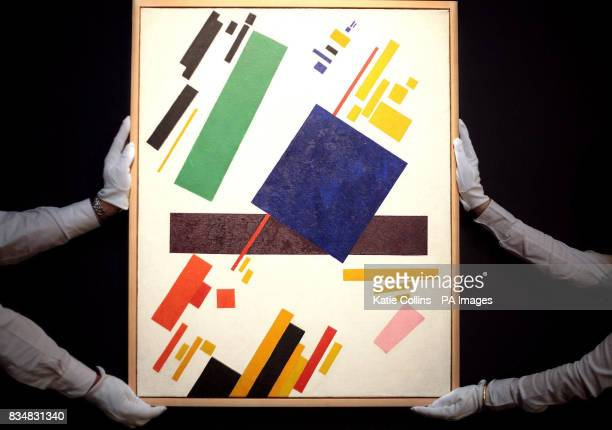 'Suprematist Composition' by Kazimir Malevich on display at Sotheby's in London