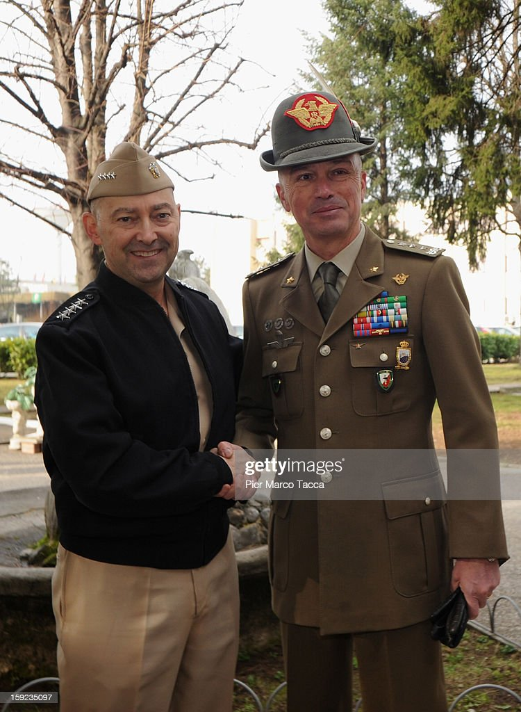 Supreme Allied Commander Europe (SACEUR) Admiral <a gi-track='captionPersonalityLinkClicked' href=/galleries/search?phrase=James+Stavridis&family=editorial&specificpeople=3965989 ng-click='$event.stopPropagation()'>James Stavridis</a> and (R) Commander NRDC-ITA Giorgio Battisti attend the departure Ceremony for OTAN Rapid Deployable Corps - Italy bound for Afghanistan at Ugo Mara Barracks on January 10, 2013 in Solbiate Olona, Italy. NRDC - ITA is one of the Alliance's seven Rapid Deployable Corps Headquarters, and is one of the two high profile NATO organisations based in Italy