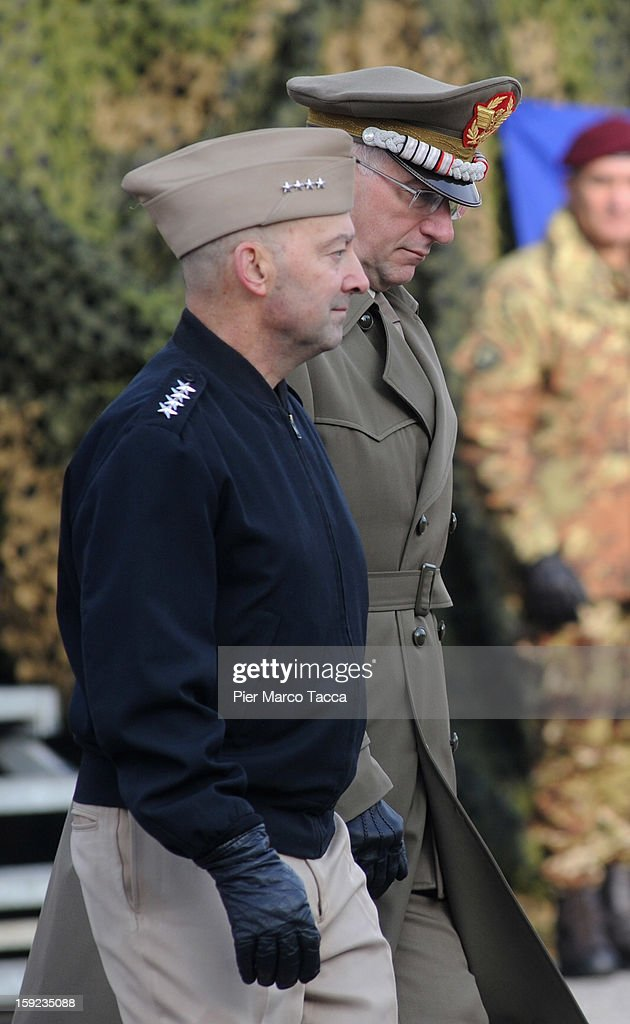 Supreme Allied Commander Europe (SACEUR) Admiral James Stavridis and (R) General Claudio Graziano, Chief of the Italian Army during the departure Ceremony for OTAN Rapid Deployable Corps - Italy bound for Afghanistan at Ugo Mara Barracks on January 10, 2013 in Solbiate Olona, Italy. NRDC - ITA is one of the Alliance's seven Rapid Deployable Corps Headquarters, and is one of the two high profile NATO organisations based in Italy