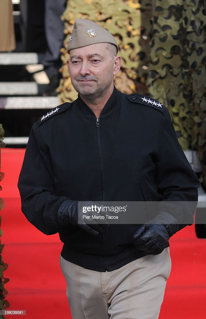 Supreme Allied Commander Europe (SACEUR) Admiral <a gi-track='captionPersonalityLinkClicked' href=/galleries/search?phrase=James+Stavridis&family=editorial&specificpeople=3965989 ng-click='$event.stopPropagation()'>James Stavridis</a> attends the departure Ceremony for OTAN Rapid Deployable Corps - Italy bound for Afghanistan at Ugo Mara Barracks on January 10, 2013 in Solbiate Olona, Italy. NRDC - ITA is one of the Alliance's seven Rapid Deployable Corps Headquarters, and is one of the two high profile NATO organisations based in Italy