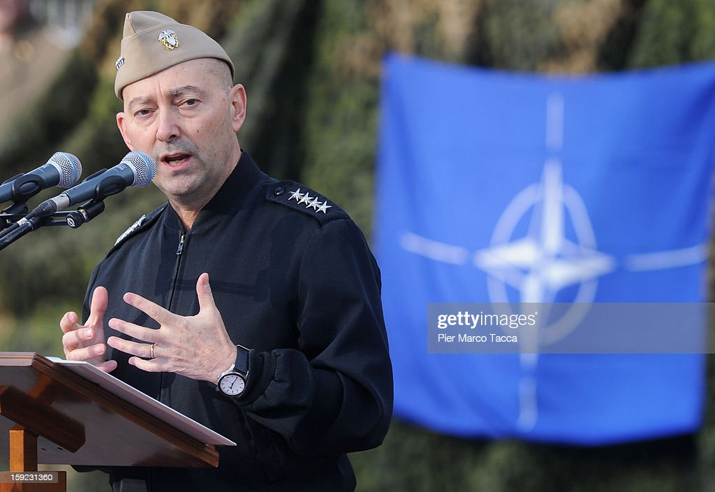 Supreme Allied Commander Europe (SACEUR) Admiral <a gi-track='captionPersonalityLinkClicked' href=/galleries/search?phrase=James+Stavridis&family=editorial&specificpeople=3965989 ng-click='$event.stopPropagation()'>James Stavridis</a> makes a speech at the departure ceremony for OTAN Rapid Deployable Corps - Italy bound for Afghanistan at Ugo Mara Barracks on January 10, 2013 in Solbiate Olona, Italy. NRDC - ITA is one of the Alliance's seven Rapid Deployable Corps Headquarters, and is one of the two high profile NATO organisations based in Italy