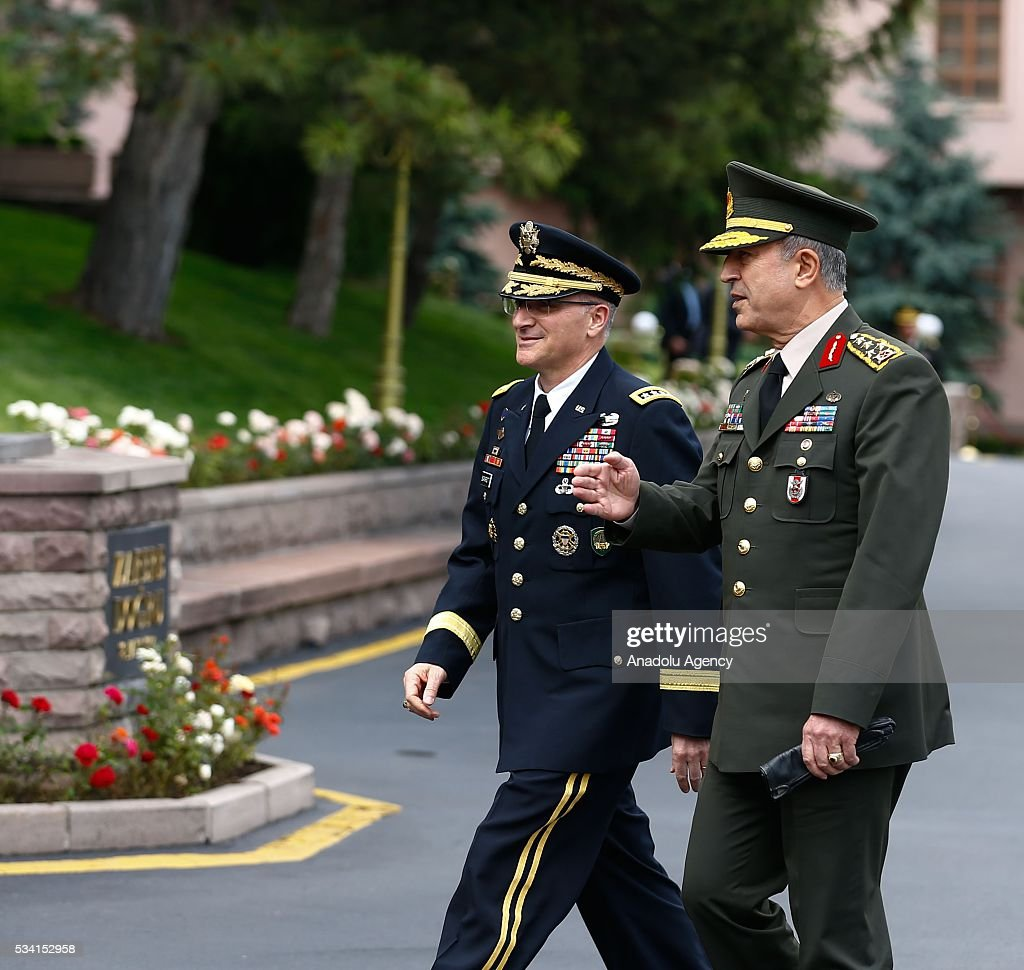 Supreme Allied Commander Europe of NATO Allied Command Operations Curtis M. Scaparrotti (L) and Chief of the General Staff of the Turkish Armed Forces, Hulusi Akar (R) are seen during the official welcoming ceremony in Ankara, Turkey on May 25, 2016.