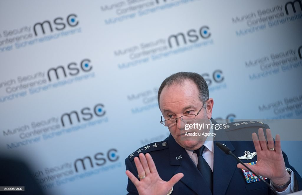 Supreme Allied Commander, U.S. Air Force General Philip Breedlove speaks to the media during a press conference as the 2016 Munich Security Conference continues at the Bayerischer Hof hotel on February 13, 2016 in Munich, Germany. The annual event brings together government representatives and security experts from across the globe and this year the conflict in Syria will be the main issue under discussion.