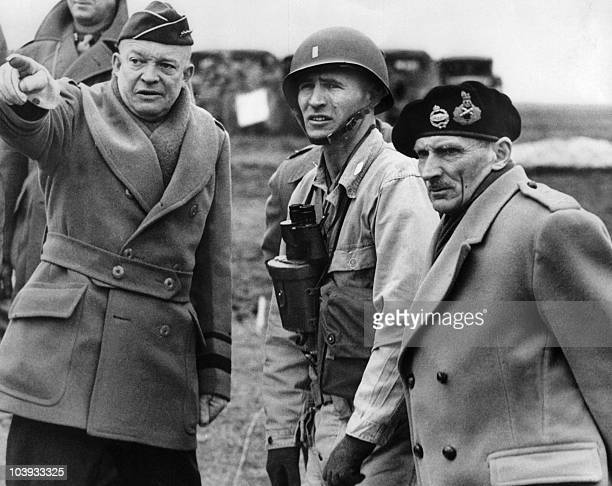 Supreme Commander of the Allied Forces General Dwight D Eisenhower shows the strain of his command as he and Britain's Field Marshal Bernard...