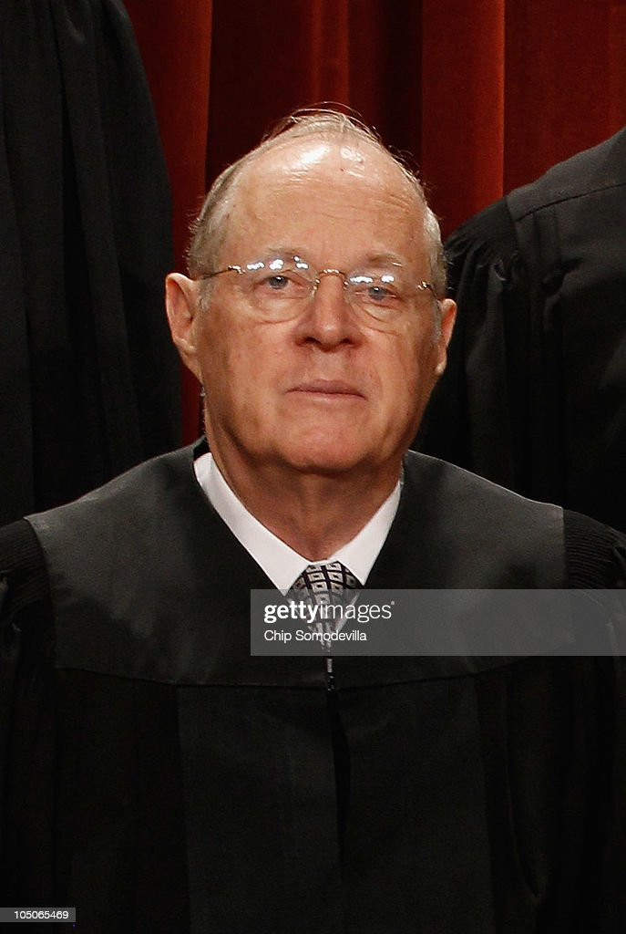 U.S. Supreme Court Associate Justice <a gi-track='captionPersonalityLinkClicked' href=/galleries/search?phrase=Anthony+Kennedy+-+Judge&family=editorial&specificpeople=220874 ng-click='$event.stopPropagation()'>Anthony Kennedy</a> poses for photographs in the East Conference Room at the Supreme Court building October 8, 2010 in Washington, DC. This is the first time in history that three women are simultaneously serving on the court.