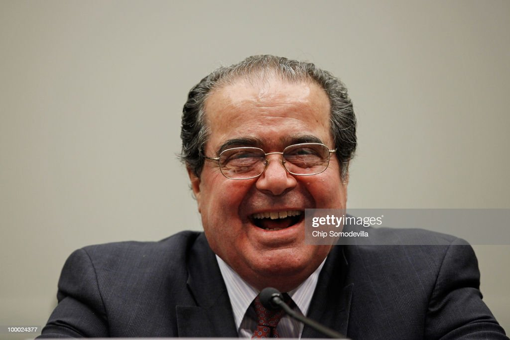 U.S. Supreme Court Associate Justice <a gi-track='captionPersonalityLinkClicked' href=/galleries/search?phrase=Antonin+Scalia&family=editorial&specificpeople=215620 ng-click='$event.stopPropagation()'>Antonin Scalia</a> testifies before the House Judiciary Committee's Commercial and Administrative Law Subcommittee on Capitol Hill May 20, 2010 in Washington, DC. Scalia and fellow Associate Justice Stephen Breyer testified to the subcommittee about the Administrative Conference of the United States.