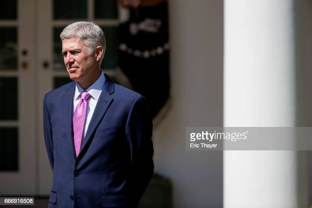 S Supreme Court Associate Justice Neil Gorsuch is seen during a ceremony in the Rose Garden at the White House April 10 2017 in Washington DC Earlier...